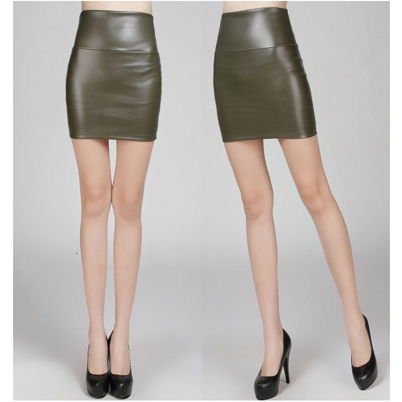 Army Green Fashion PU Faux Leather Skirt Bodycon High Waist Pencil ...