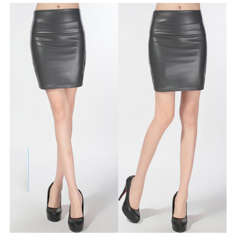 grey fashion pu faux leather skirt bodycon high waist