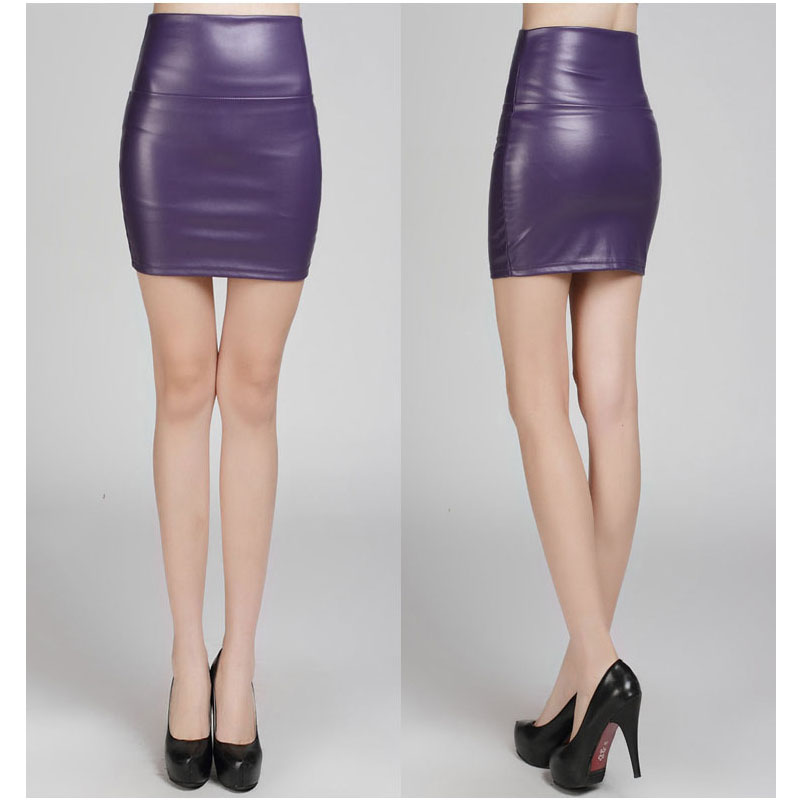 Purple Fashion PU Faux Leather Skirt Bodycon High Waist Pencil ...